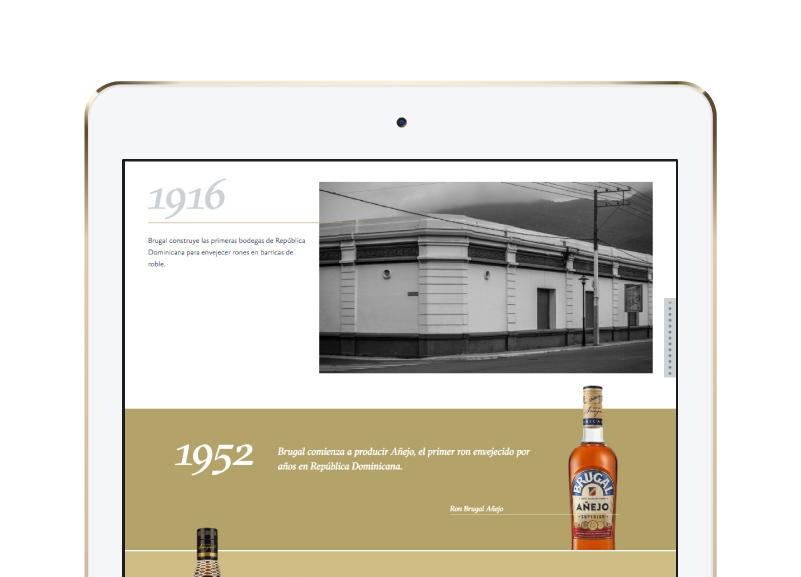 iPad mostrando línea de tiempo de Casa Brugal