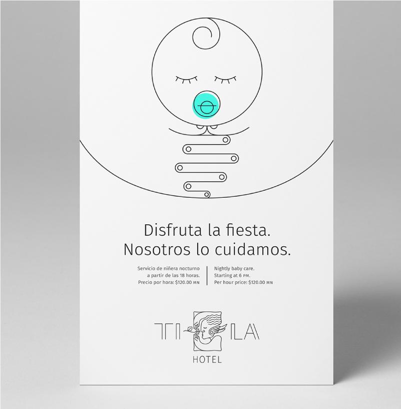 Tentcard de uso interno promocionando servicios de guardería y niñera dentro del hotel. Se utiliza la versión centrada del logotipo