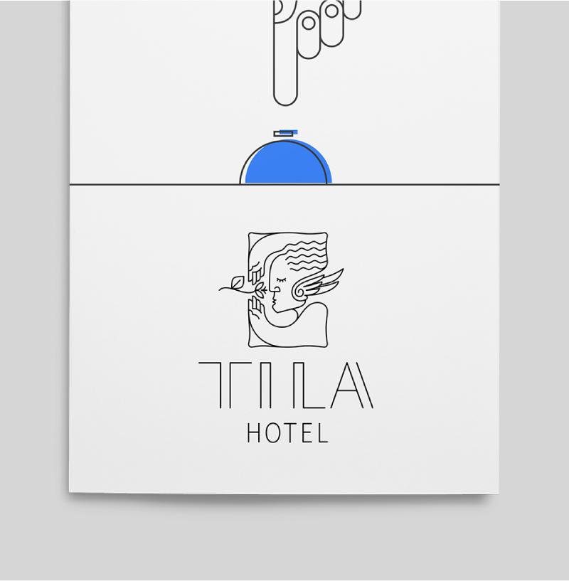 Folleto de servicios del hotel. Se utiliza la versión vertical del logotipo