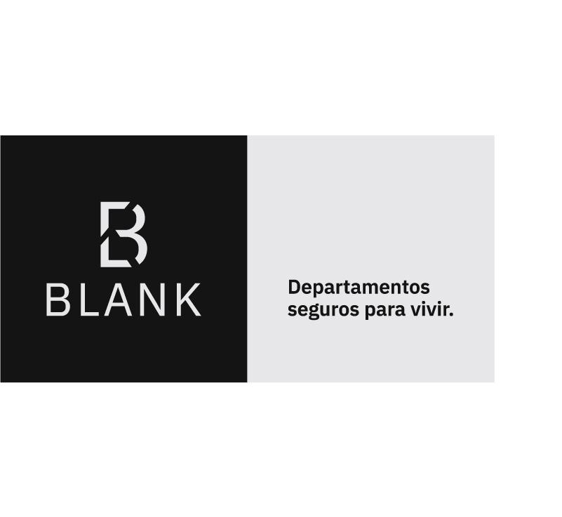 Firma de la identidad del desarrollo departamental Blank, con la leyenda: departamentos seguros para vivir.