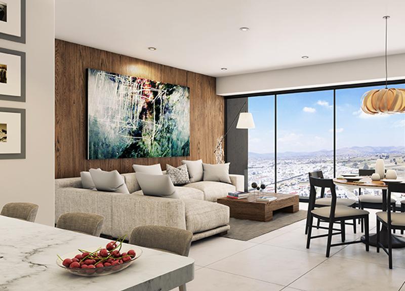 Fotografía del diseño de interiores de la sala de uno de los departamentos del desarrollo Blank, en Puebla, México.