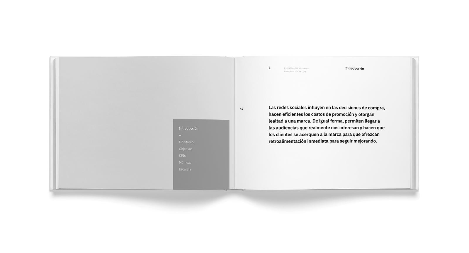 Muestra del diseño editorial del manual de identidad del desarrollo depertamental Blank, ubicado en la entrada de Lomas de Angelópolis I, en Puebla, México.