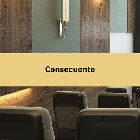 Sala de cine en desarrollo departamental Blank, con texto encima sobre el valor de la consecuencia.