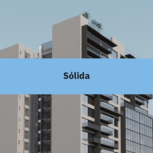 Imagen del desarrollo departamental Blank, con texto encima sobre el valor de la solidez.