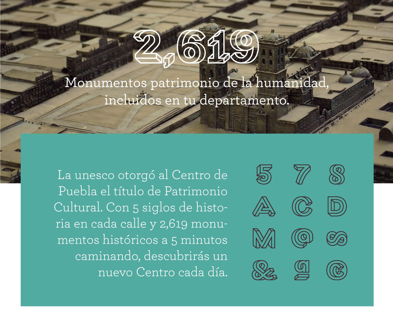 Banner con maqueta del centro de Puebla con la Catedral