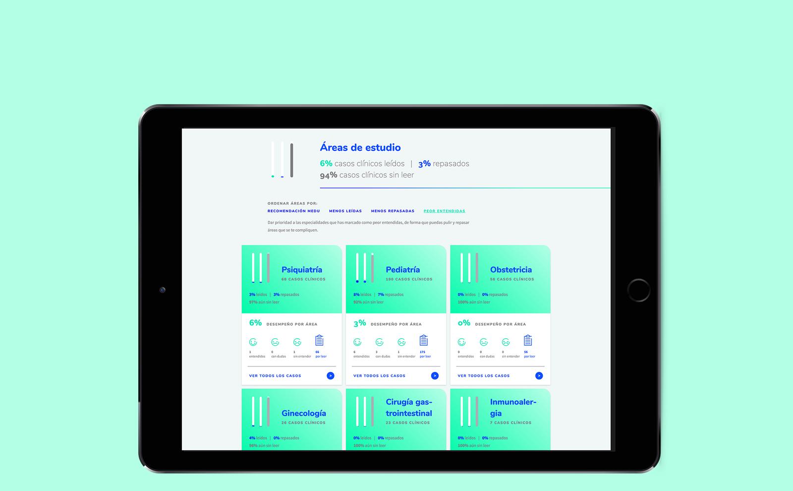 iPad con muestra de las áreas de estudio de Medu, plataforma de estudios en medicina, para aplicantes al ENARM.