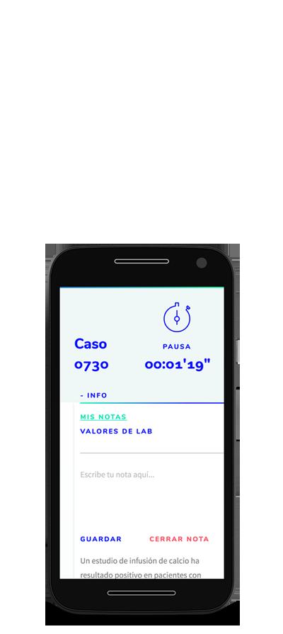 Celular con muestra de un caso de estudio Medu, plataforma de estudios en medicina, para aplicantes al ENARM.