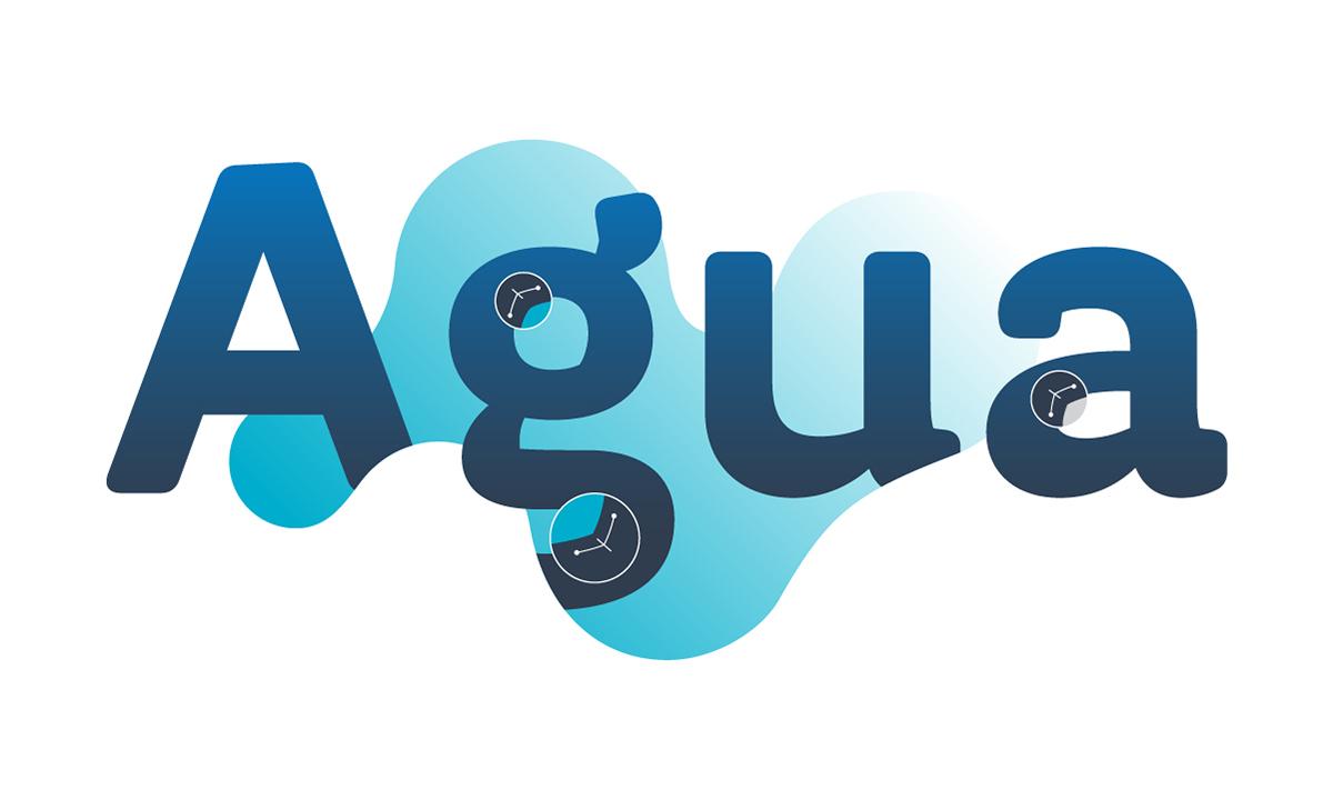 Palabra Agua envuelta por una forma acuosa con indicadores en los vértices