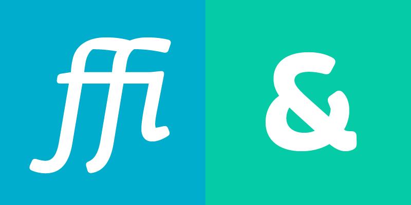 Ligadura ffi blanca sobre fondo azul y signo ampersand sobre fondo verde aqua