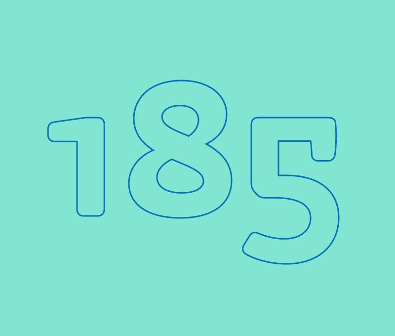 Numero 185 sin relleno con contorno azul sobre fondo verde aqua