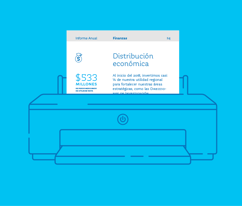 Representación ilustrada de una impresora imprimiendo una hoja con información escrita con Rotoplas.