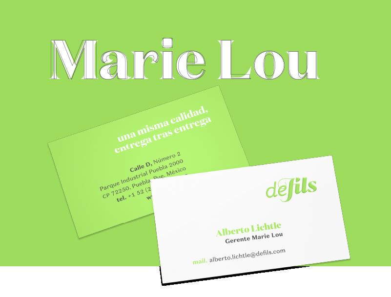 Ejemplo de papelería, tarjeta de presentación para Marie Lou