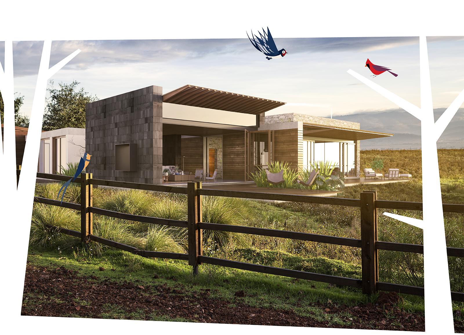 Ranchette con ilustraciones de pájaros y árboles