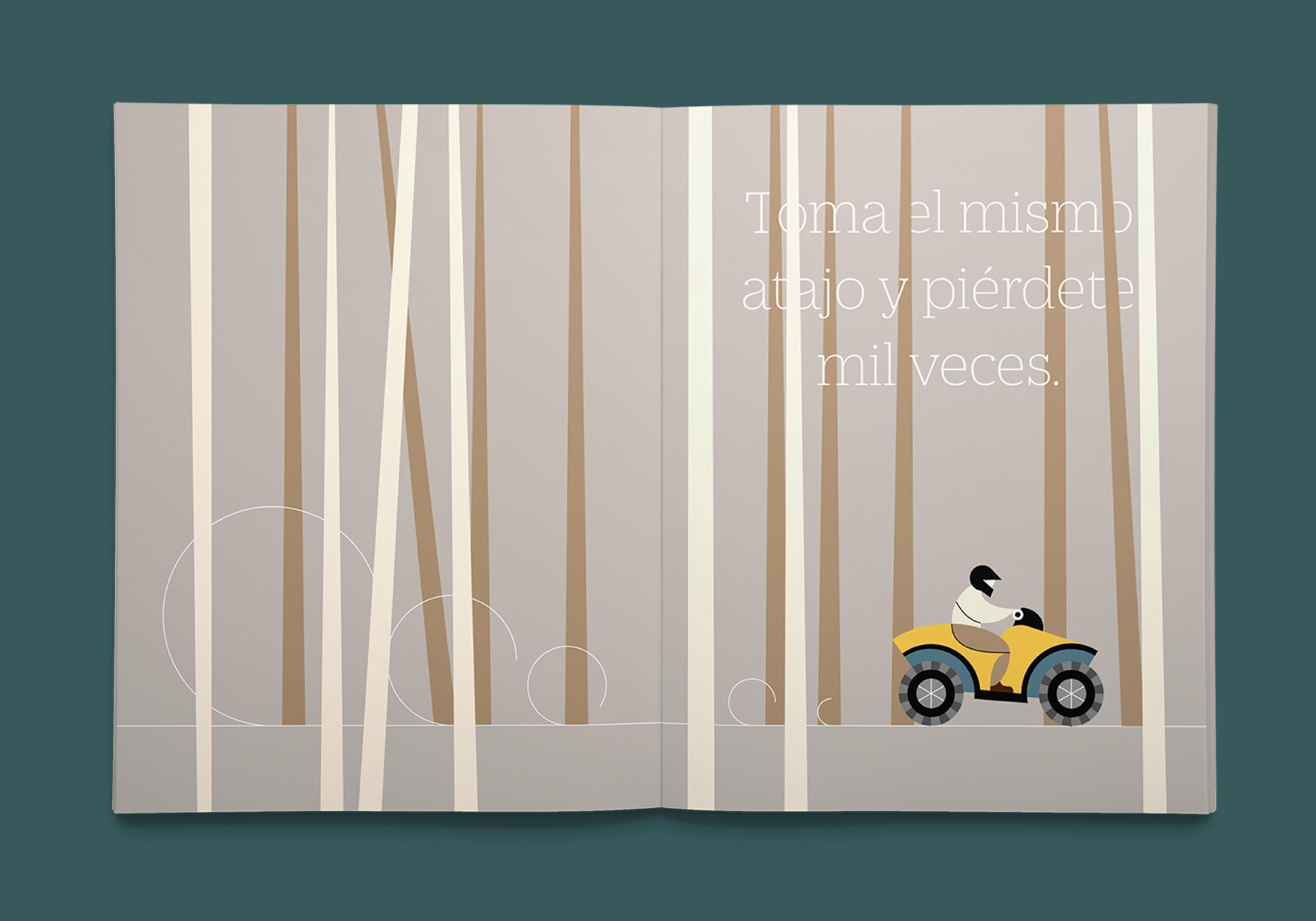 Brochure con motocicleta abriéndose camino por el bosque