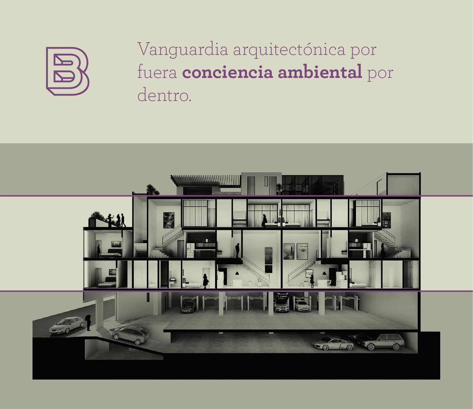 Corte que demuestran la distribución de los lofts en el Centro Histórico de Puebla