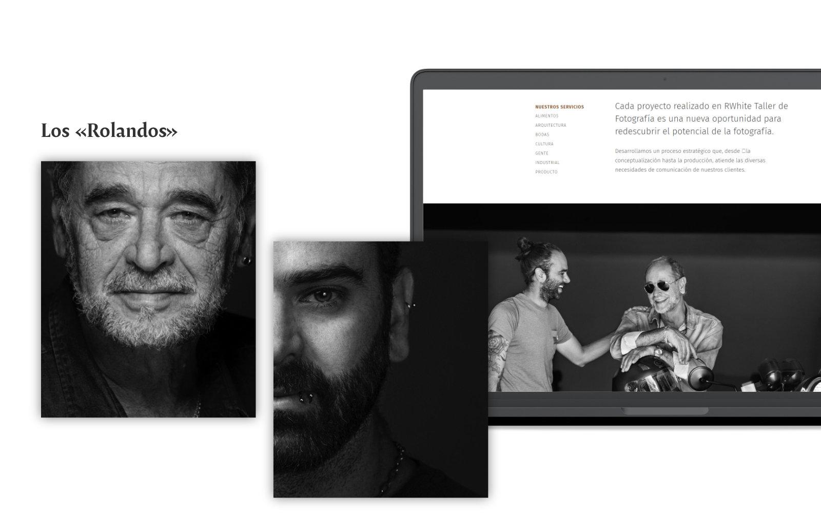 Laptop enseñando la página Nosotros de Rolando White
