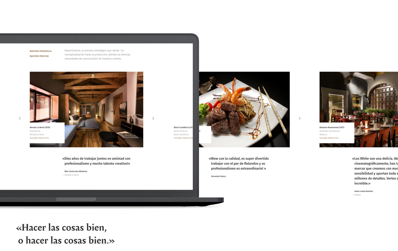 Laptop enseñando el homepage de Rolando White